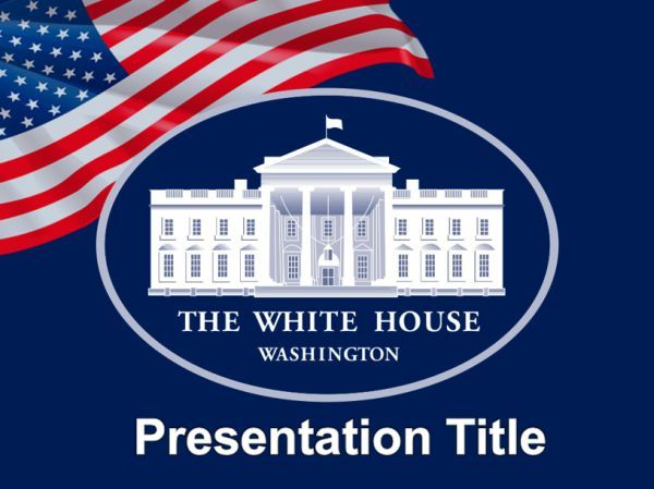White House And Flag Of The Usa Powerpoint Template Ppt Templates