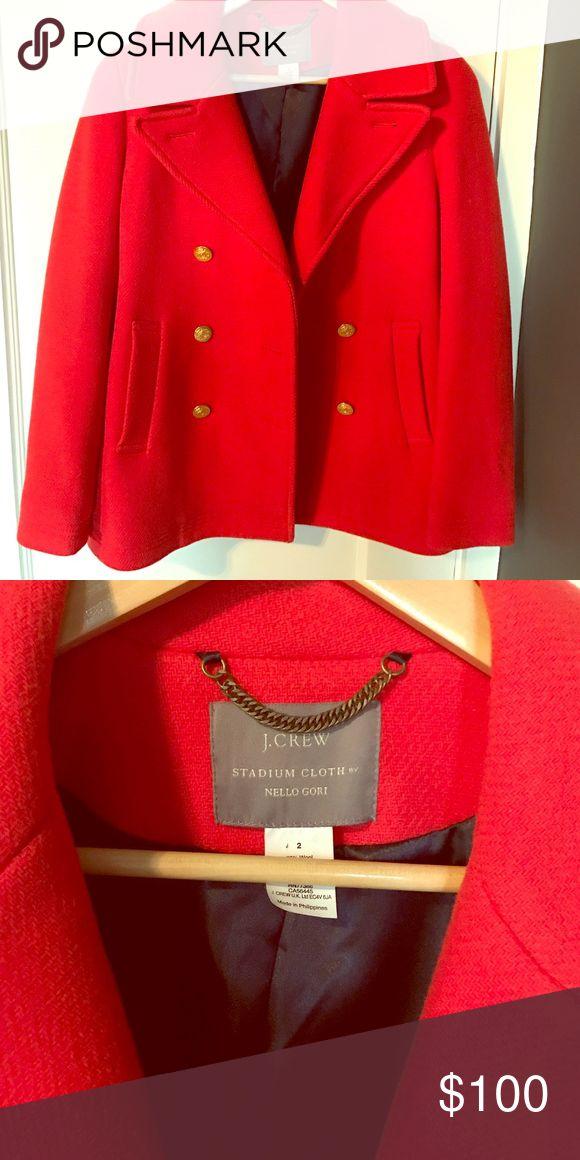 J.Crew cherry-red pea coat Gorgeous cherry-red J.Crew pea coat. Worn just twice! J. Crew Jackets & Coats Pea Coats
