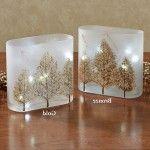 Interior Christmas Decorating Style – Splendour Gold – Elegance Pine LED Lighted Glass Vase