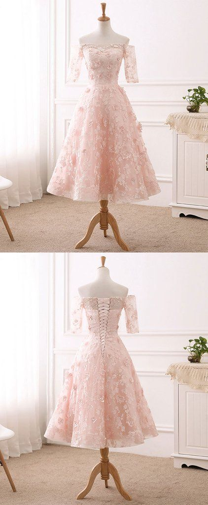 Pink lace tulle tea length prom dress, lace evening dress