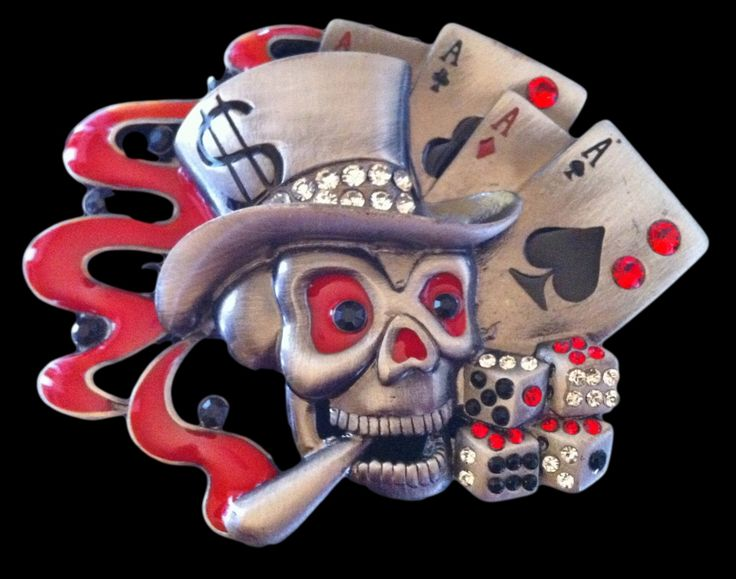 Cards Dice Skull Skeleton Ghost Cool Belt Buckle #skullbuckle #skullbeltbuckle #skull #poker #gambling #skullpokerhand #pokerhand #beltbuckle #fullhouse