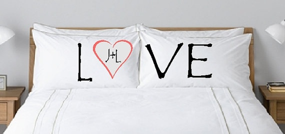 """I LOVE this pillow case set! Features the word """"LOVE"""" with a heart, in dark pink, in place of the """"O"""" with custom initials inside.      Perfect for any couple happily in love!    I love you, Ben!!"""