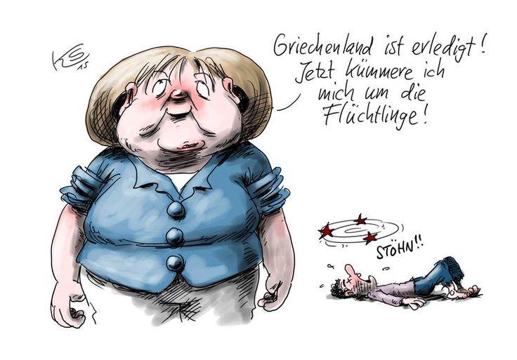 """caricature Klaus Stuttmann  """"Bon la Grèce, c'est règlé. Maintenant, je m'occupe des réfugiés"""""""