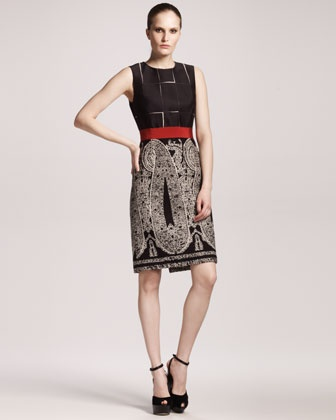 Paisley-Skirt Sheath Dress by Giambattista Valli at Bergdorf Goodman.