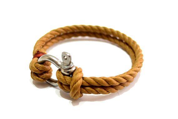 Nautical Sailing Bracelet  Stainless steel  Shackle - Paracord Bracelet - Mens Bracelet - Mens Jewelry - Linen Rope Bracelet - Brown