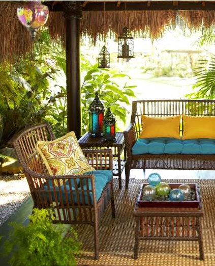 Create The Perfect Outdoor Getaway With Colorful Pier 1 Pillows And Cushions