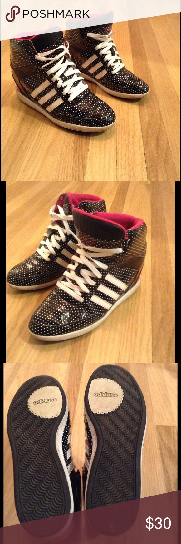 ADIDAS NEO black & white wedge sneakers size 9.5 Super cool patent leather Adidas NEO hidden heel sneakers. Size 9.5 but will fit a size 10 as well. Happily consider offers Adidas Shoes Athletic Shoes