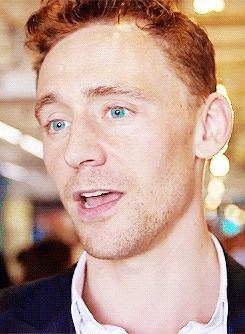 "Tom Hiddleston GIF super blue eyes alert. I do believe he is saying ""Um."" Um has never been so cute."