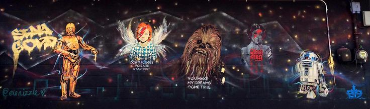 Panoramic view of mural on the exterior wall of Stay Gold Bar, Austin, TX