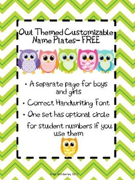 These bright and cheery Name Plates are adorable for the Owl Themed Classroom.  They feature a chevron border.  The plates are customizable with a text box for you to click in and type the child's name.  The text box hovers over the manuscript line so be carefeul not to resize the font or move the text box.