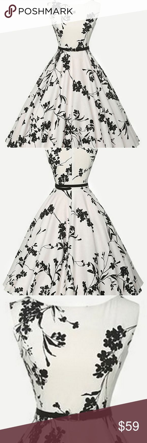 Dress With Belt  Size S M L XL XXL XXXL XXXXL in inches: Shoulder 10.6 11.0 11.4 11.8 12.2 12.6 13.0  Bust 32.3 33.9 35.4 37.0 38.6 40.2 41.7  Waist Size 26.8 28.3 29.9 31.5 33.1 34.6 36.2  Length 37.8 38.2 38.6 39.0 39.4 39.8 40.2  Cuff 20.1 20.5 20.9 21.3 21.7 22.0 22.4  Material: Polyester   Color: White, Black and White   Neckline: Boat Neck   Style: Vintage, Elegant, Party   Decoration: Zip, Belted   Sleeve Length: Sleeveless   Dresses Length: Midi   Fabric: has no stretch processing…