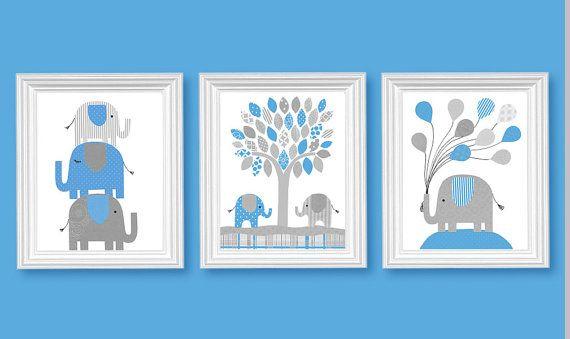 Elephant Nursery Decor Baby Royal Blue Gray Boy's Room Decor Children Balloons Toddler 8 x 10 or 11 x 14 Set of Three 3 Prints or Canvas