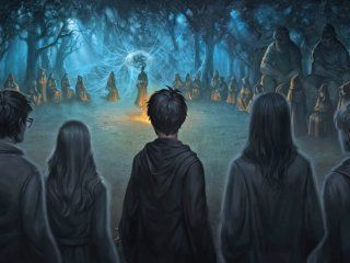 Harry, accompanied by the spirits of his dead family and friends, approaches Lord Voldemort prepared to die.