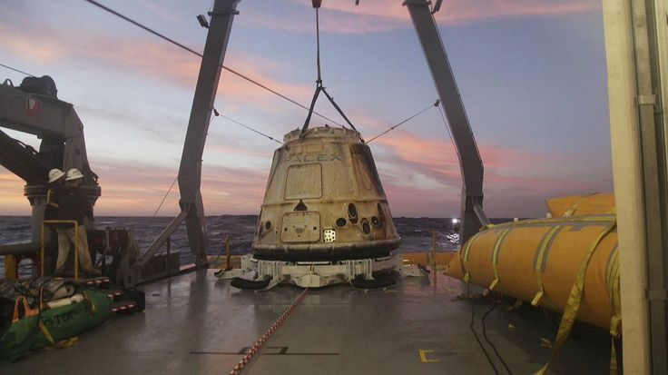 In this February 10, 2015, file photo made available by SpaceX, the company's Dragon capsule sits aboard a ship in the Pacific Ocean west of Mexico's Baja Peninsula after returning from the International Space Station, carrying about 3,700 pounds of cargo for NASA. Photo by: AP Photo/SpaceX