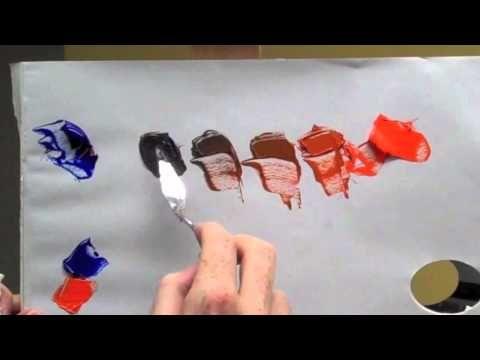 Rueda de color de los colores complementarios: azul y naranja de color complementario mezcla