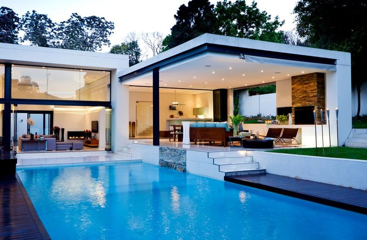 Pool Patio Ideas | ... Bring Modernity : Luxury Flat Roof House Design Blue Pool Open Patio