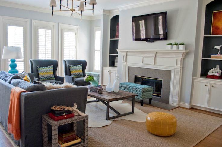 living room space layoutDecor Ideas, Living Roomfamili, Living Rooms, Blue Wall, Sally Wheat, Livingroom, Roomfamili Room, Large Living Room, Families Room