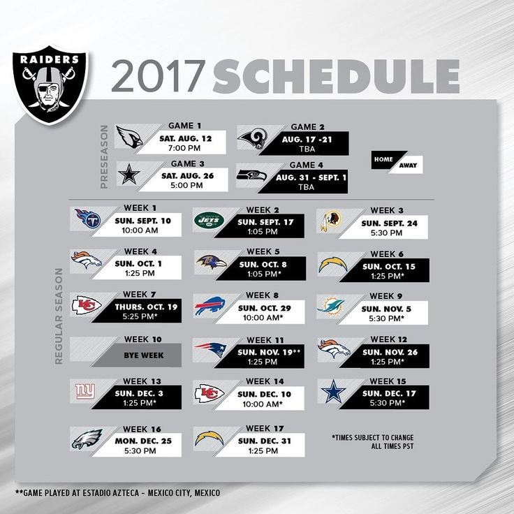 "10.3k Likes, 375 Comments - Oakland Raiders (@raiders) on Instagram: ""Here it is #RaiderNation. The official 2017 season schedule."""