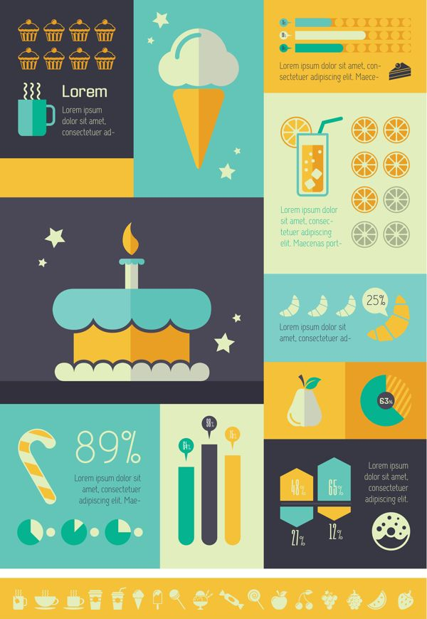 Food Infographics Templates. Flat Design. Vector Graphics.