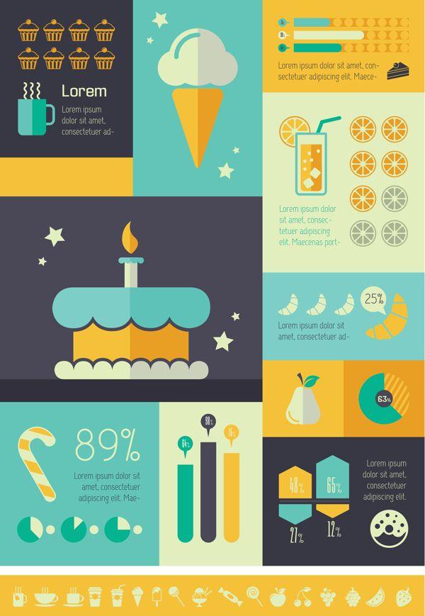 Food Infographics Templates. Flat Design. Vector Graphics.