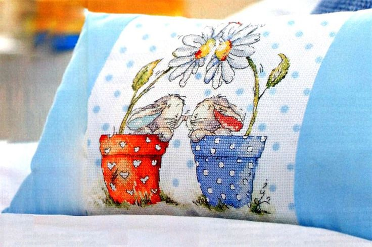 A pillow with cross-stitch picture - pattern