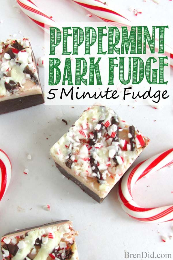 Love fudge? You must try this 5-Minute Peppermint Bark Easy Chocolate Fudge! It combines layers of smooth chocolate fudge and cool creamy peppermint to create the perfect holiday treat. Perfect for gifts and cookie exchanges. BrenDid.com