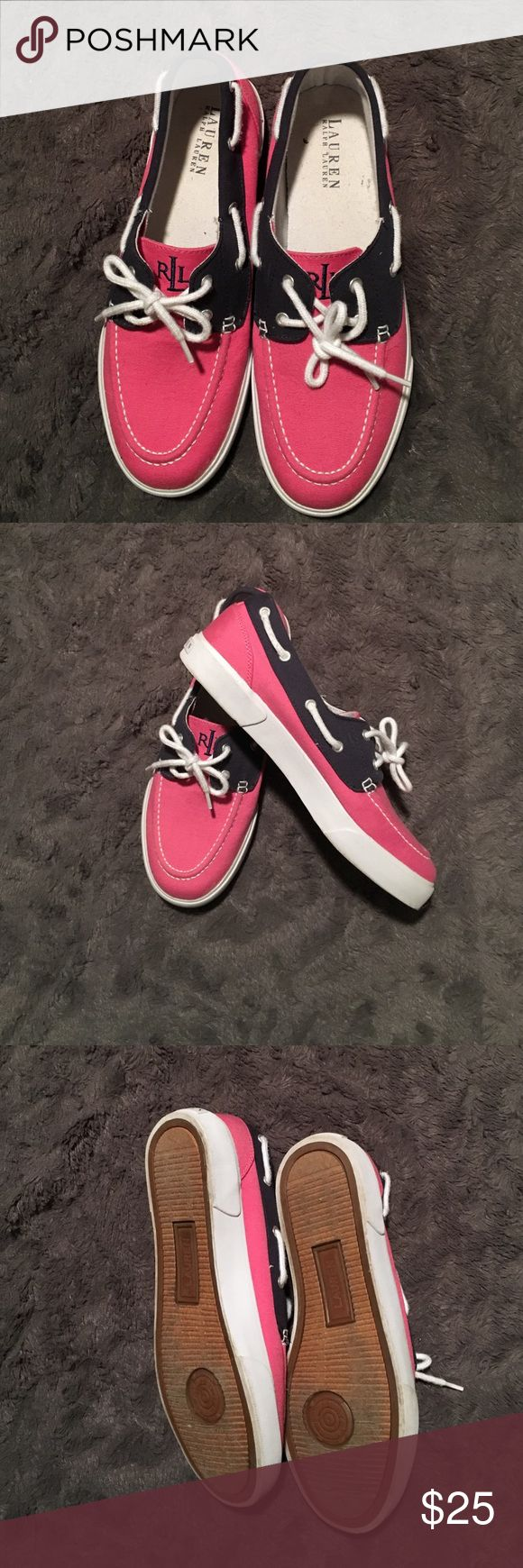 Navy, pink and white Ralph Lauren boat shoes. Navy, pink and white Ralph Lauren boat shoes! Worn once or twice. So cute for the spring! Lauren Ralph Lauren Shoes Flats & Loafers