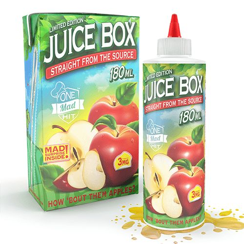 One Mad Hit E-Liquids Juice Box - One Mad Hit E-Liquids is a collaboration of two giants, One Hit Wonder and Mad Hatter Juice. The ultimate 180ml offering is set to release August 2016. With major success of both companies, The anticipation of the first flavor from One Mad Hit is at the highest due to the popularity of the current flavors from the two companies, such as The Muffin Man, The Milk, I Love Donuts and I Love Taffy.70% VG