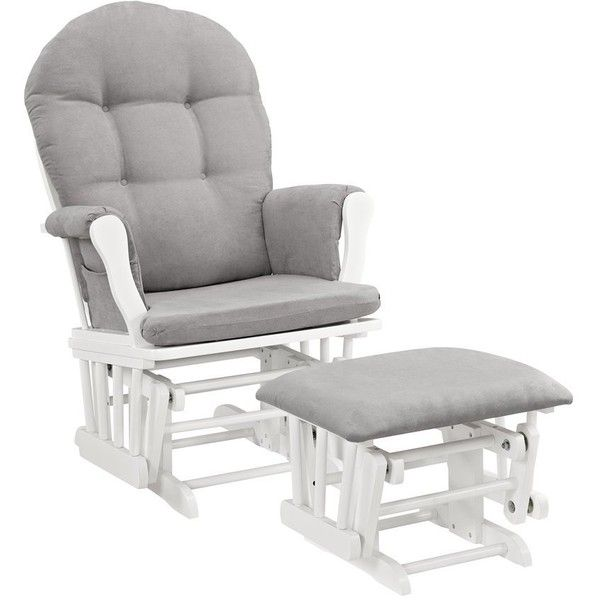 Windsor Glider and Ottoman-white w/ gray cushion ($145) ❤ liked on Polyvore featuring home, furniture, ottomans, gray furniture, white ottoman, gray ottoman, grey footstool and white footstool