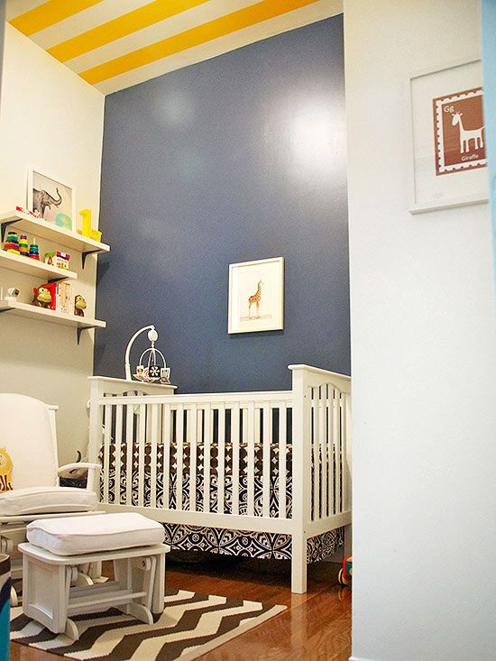 A Striped Ceiling Adds Dimension And Interest To Babyu0027s Bedroom. #babygirl Part 69