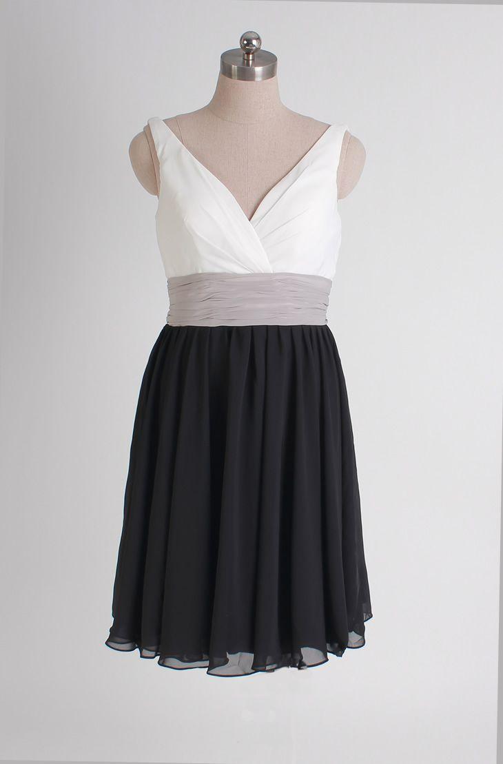 Gorgeous sleeveless A-line bridesmaid dress-two tone
