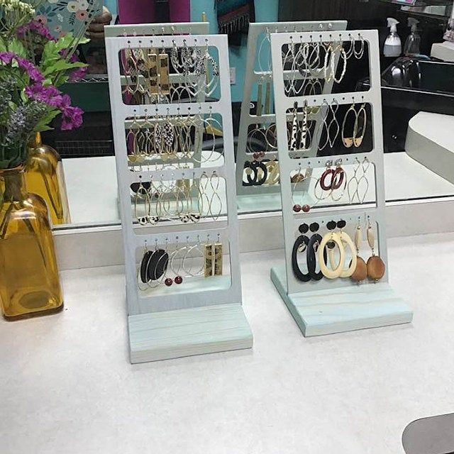 Earring Display with Card Wood Jewelry Displays Stands Holders Retail Fixtures Jewelry Props