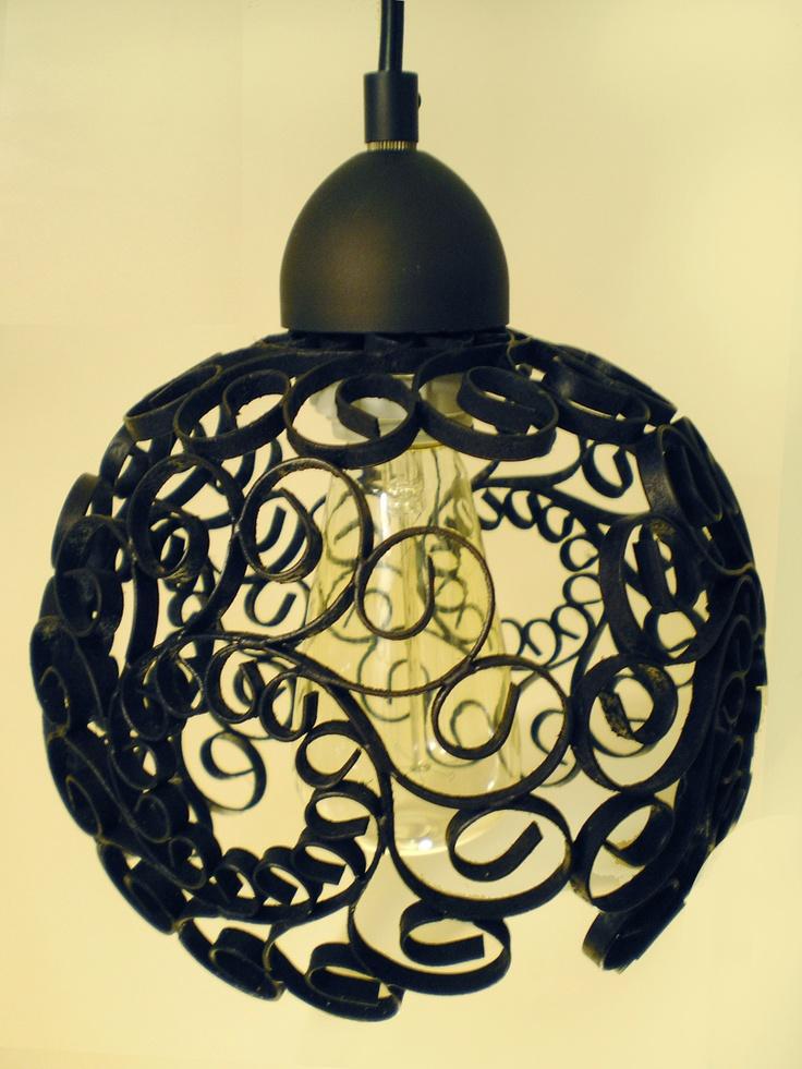 Iron scroll repurposed pendant lamp set set of three for Repurposed light globes