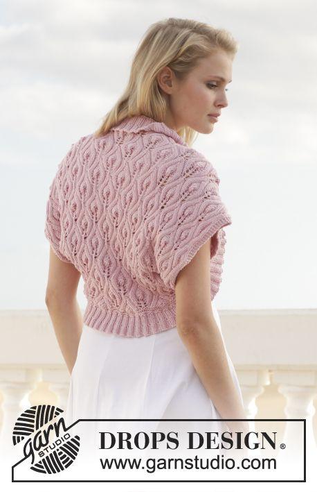 "Knitted DROPS bolero with leaf pattern in ""Cotton Merino"". Size: S - XXXL ~ DROPS Design"
