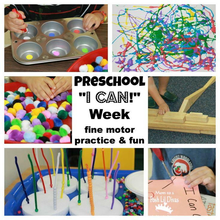 "Mom to 2 Posh Lil Divas: ""I Can"" Week in Preschool - Fine Motor Practice & Fun"