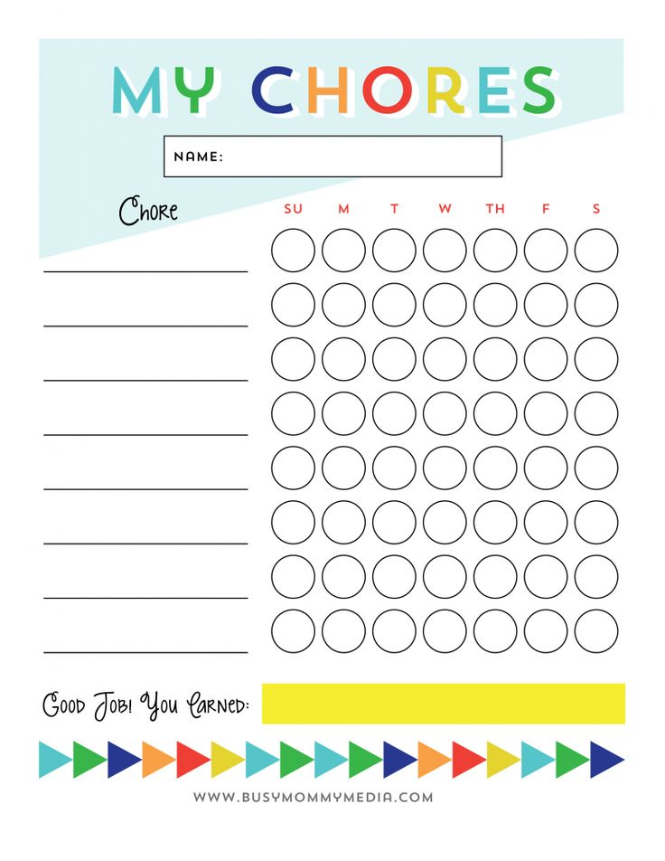 Free Printable chore chart for kids from BusyMommyMedia.com   This is a great way to get kids motivated to do chores!