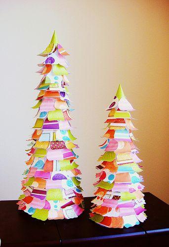 Scrapbook paper Christmas trees: Christmas Crafts, Scrapbooks, Christmas Decorations, Scrap Paper, Paper Christmas Trees, Projects Ideas, Wraps Paper, Scrapbook Paper Crafts, Paper Trees