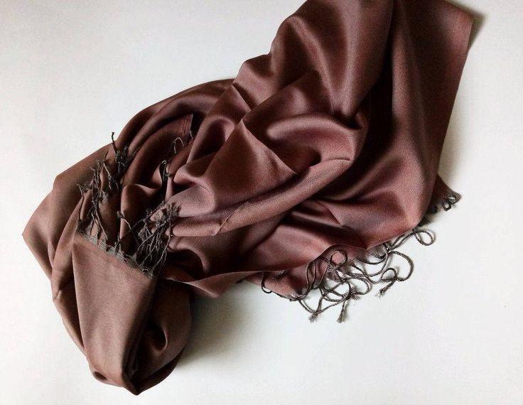 Chocolate Scarf. Brown Scarf. Viscose scarf, silk scarf. Viscose fabric scarf. by VUGASHOP on Etsy