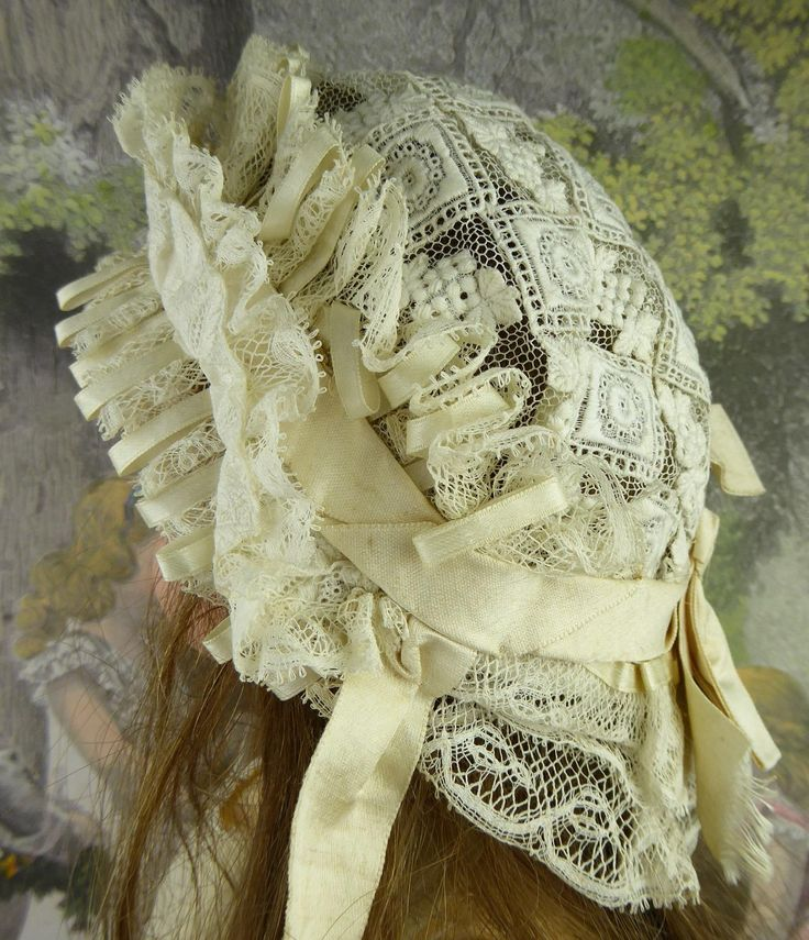 Very elaborate all original French lace Jumeau bonnet with box pleated from stairwaytothepast on Ruby Lane