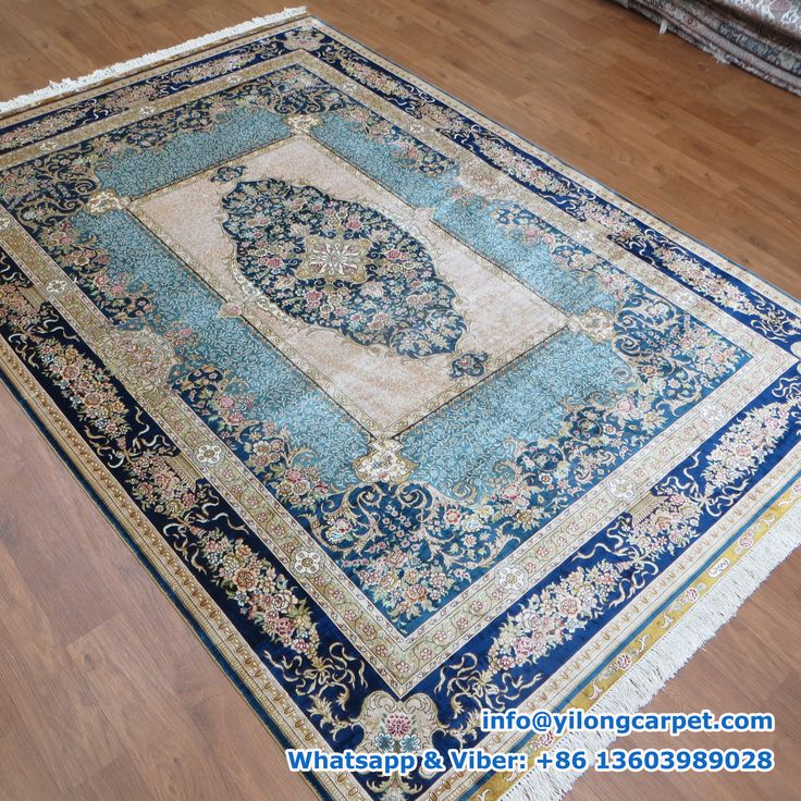 Hand Knotted Silk Turkish Rug Offered By Yilong Blue Medallion Design In The Middle Of Gold Base Glod Border Alternating Grants From Light To Dark