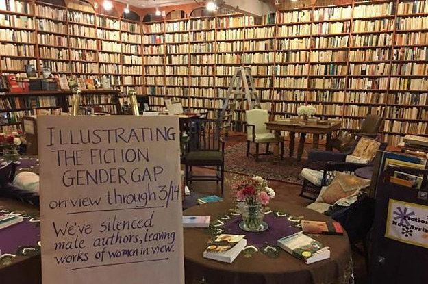 """[B]ookstore turned around all books authored by men to illustrate how much more prominent men are in the written world than women, just in time for Women's History Month.[..] Is the gender gap really this uneven, and why? What does my personal library look like? What can be done to change this imbalance?"""