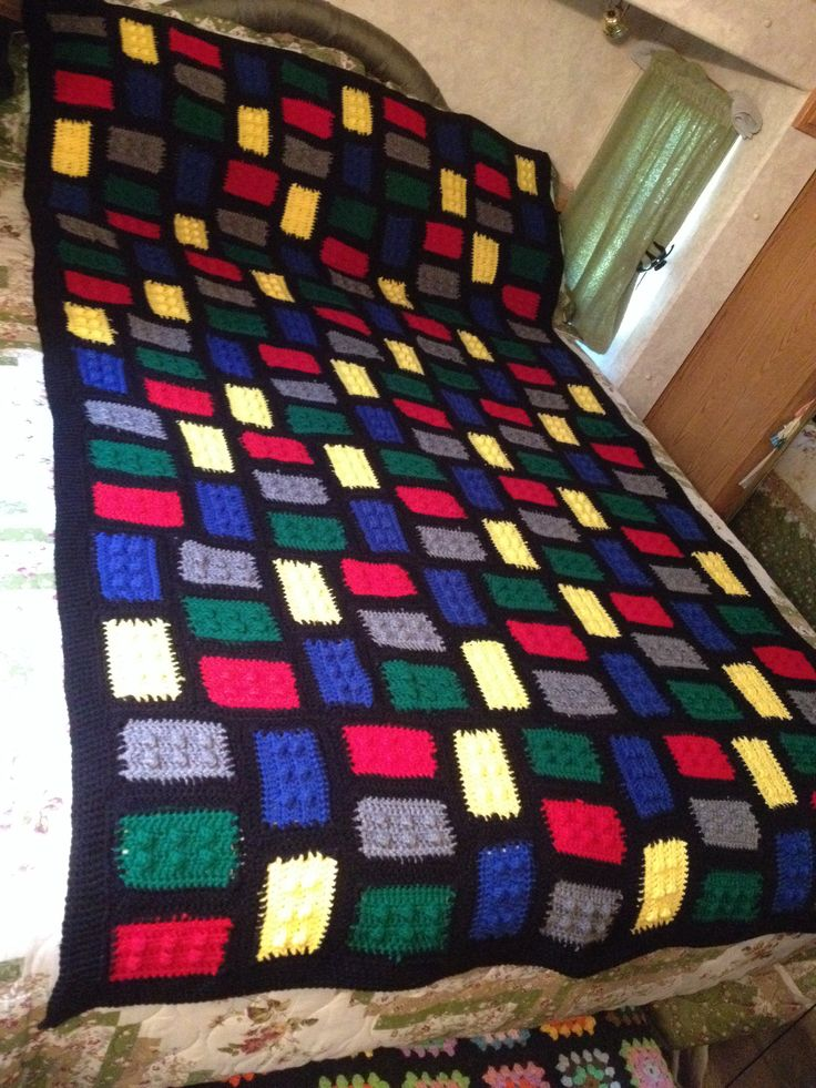 Lego Throw Pillow And Blanket Set : My Crochet Lego Blanket, it s 7 foot long and 4 1/2 feet wide. Knitting & Crochet Projects ...