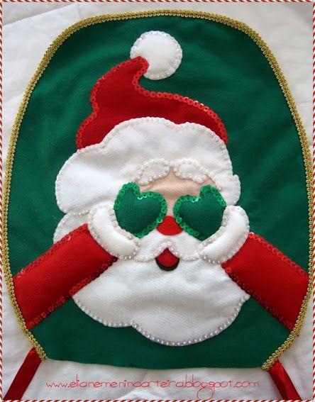 Molde capa de vaso papai Noel em feltro – Artesanato Brasil