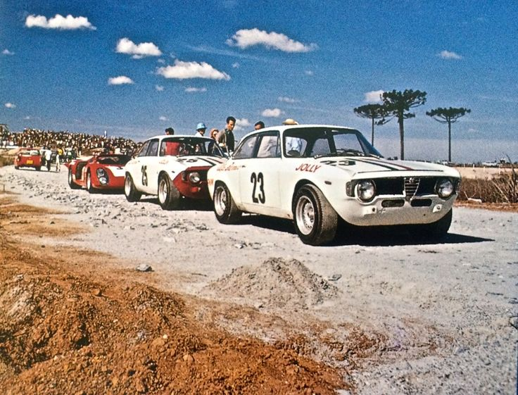"""A dear friend sent me the picture above with the title """"the most beautiful picture I have ever seen"""". Who am I to disagree?! He is the happy owner of one of the Alfa Romeos that raced for Jolly Gancia. One not in the picture. It was the year 1969, a year when the Jolly Gancia Alfa Romeos won 23 of the 24 races they participated."""