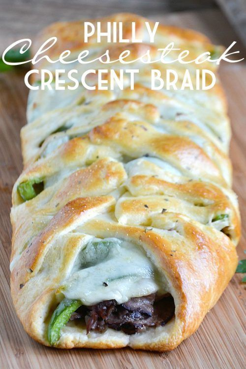 Philly Cheesesteak Crescent Braid  and Pillsbury Crescent Rolls Recipes - Crescent Roll Ideas for Entrees, Snacks, Appetizers, Desserts and More on Frugal Coupon Living.