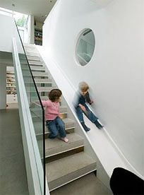 Instead of the stairs, take the slide!  I seriously wish we had done this to the back stairs when we built our house.