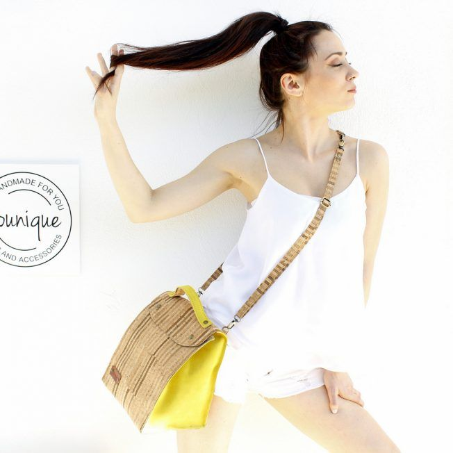 Handmade striped natural cork and funky yellow suede minibag. Can be used as backpack, messenger or shoulder bag.