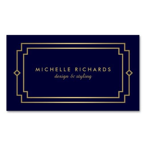 Your name or business name is elegantly styled with an art deco frame on this designer business card template. The simple lettering and design is professional and timeless. Set in a faux gold on dark navy blue for a luxe feel. © 1201AM CREATIVE