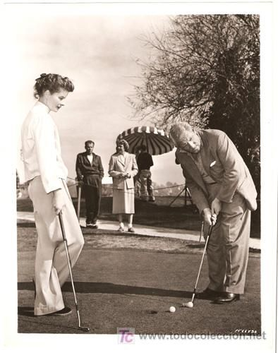 Katharine Hepburn golfing with Spencer Tracy #film