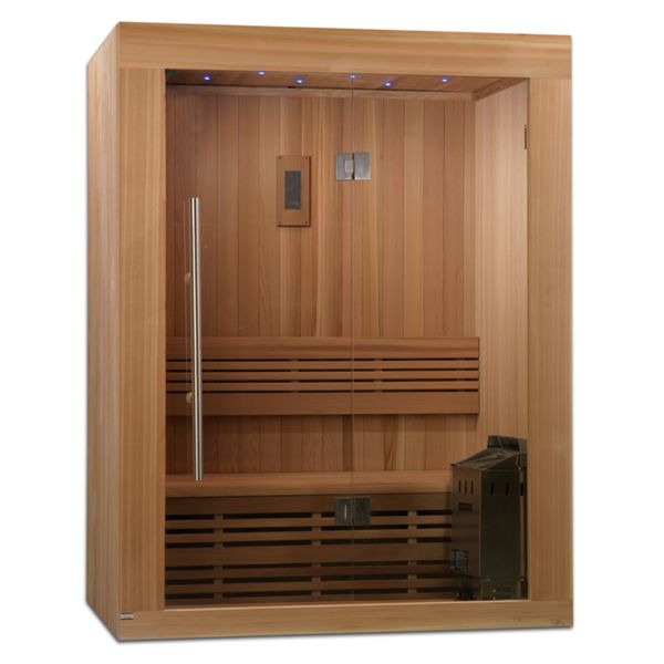 Sundsvall 2-3 Person Traditional Steam Sauna, Natural Canadian Red Cedar Wood 77 inches high x 66 inches wide x 44 inches long